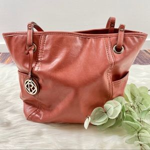 RELIC Faux Leather Spring Shoulder Bag deep coral